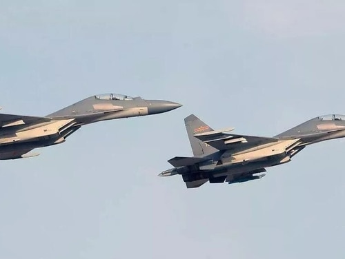 A pair of Shenyang J-16 multirole fighters take off. (China's Ministry of National Defense)