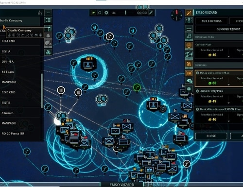 This a screenshot of the EMSO, or electromagnetic spectrum operations feature of the new simulation tool that DARPA has transitioned to the Marine Corps. (DARPA)
