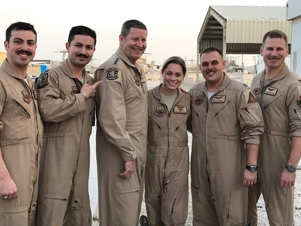 Capt. Julian Gluck, far left, and crew during a meeting with Gen. Robin Rand, third from left, the head of Air Force Global Strike Command, during a deployment to Al Udeid Air Base, Qatar, in 2017. (Courtesy photo)
