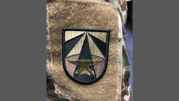 The subdued version of the Army Futures Command shoulder patch worn with the Army Combat Uniform. (Maj. Jeremy Prince/Army)