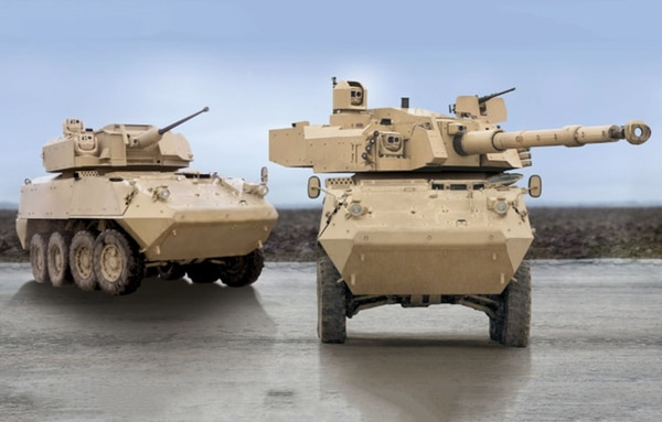 The ST Kinetics Next Generation Armored Fighting Vehicle is fitted with the CMI Group's modular Cockerill 3105 turret, right. (CMI Defence)