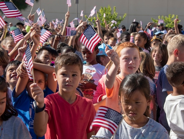 Children attending the Freedom Walk at Travis Air Force Base, Calif., on Sept. 11, 2018. The walk commemorated those who lost their lives on 9/11. (Heide Couch/Air Force)
