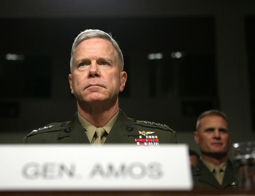 WASHINGTON - SEPTEMBER 21: U.S. Marine Corps Gen. James Amos waits for his confirmation hearing before the Senate Armed Services Committee in 2010. (Photo by Alex Wong/Getty Images)