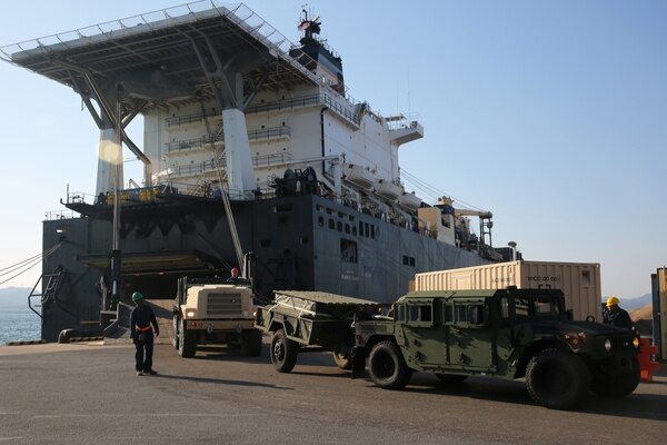 160303-N-IX266-009 GWANGYANG, Republic of Korea —Marine Corps vehicles are discharged from Military Sealift Command's Maritime Prepositioning Force (MPF) ship USNS PFC Dewayne T. Williams (T-AK 3009) here March 1. The Williams was carrying Marine Corps equipment that will be used to support Exercise Ssang Yong 2016 (SY16). The Williams was one of three MPF ships that offloaded her cargo in support of SY16 exercise, under the Exercise Freedom Banner 2016 directive. An MPF ship can provide equipment to sustain a Marine Expeditionary Brigade for up to 30 days. She can discharges cargo in port or at sea using organic lighterage. (U.S. Navy photo by Grady T. Fontana/Released)