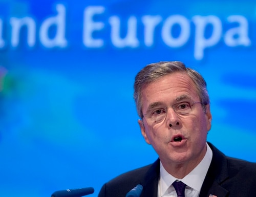 Former US Governor Jeb Bush speaks at the Economic Council in Berlin, Germany, Tuesday, June 9, 2015. The Economic Council is a German business association representing the interests of more than 11,000 small and medium sized firms, as well as larger multinational companies. Text in the background reads 'and Europe'. (AP Photo/Michael Sohn)