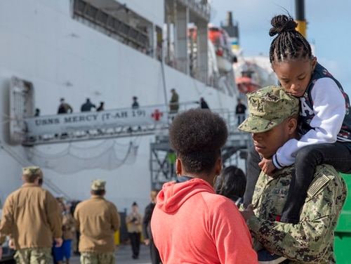 Sailors embarked aboard Military Sealift Command hospital ship USNS Mercy say goodbye to friends and family as the ship prepares to depart Naval Base San Diego. Navy Times recently obtained data from Navy Personnel Command that paints a picture of where sailors are the busiest. (MC1 Byron C. Linder/Navy)