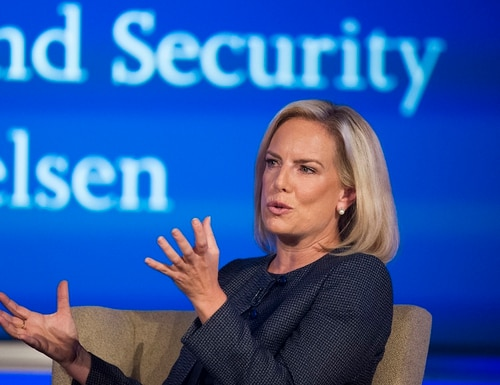 In this Sept. 5, 2018, file photo, Secretary of Homeland Security Kirstjen Nielsen speaks to George Washington University's Center for Cyber and Homeland Security, in Washington. President Donald Trump has soured on Homeland Security Secretary Kirstjen Nielsen and she is expected to leave her job as soon as this week. (Cliff Owen/AP)