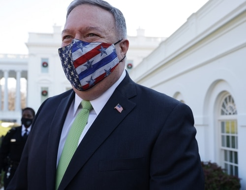 Secretary of State Mike Pompeo walks on the grounds of the White House Dec. 11, 2020, in Washington. (Alex Wong/Getty Images)
