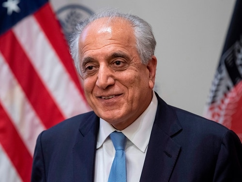 US Special Envoy Zalmay Khalilzad participates in a discussion on