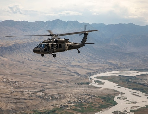 A UH-60 Black Hawk Helicopter from Task Force Heavy Cav flies over Afghanistan on May 21, 2019. A new study released this week found no connection between military suicide rates and combat operations. (Sgt. Jordan Trent/Army)
