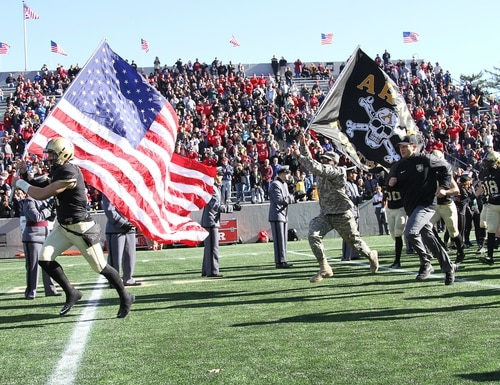 The Army Black Knights football team take to the field at Michie Stadium in 2015.(West Point)