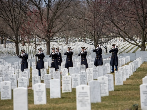 Soldiers assigned to the 3d U.S. Infantry Regiment (The Old Guard), participate in a funeral at Arlington National Cemetery in Virginia on March 22, 2019. (Sgt. Nicholas T. Holmes/Army)