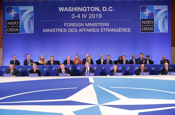 Secretary of State Mike Pompeo, third from the left, makes opening remarks at the Meeting of the North Atlantic Council in Foreign Ministers' Session 1 at the US State Department in Washington, Thursday, April 4, 2019. Sitting with him are from left to right: Turkey's Foreign Minister Mevlut Cavusoglu, Britain's Ambassador to NATO Sarah MacIntosh, NATO's Secretary-General Jen Stoltenberg, Deputy Secretary General of NATO Rose Gottemoeller, Assistant Secretary General for Political Affairs and Security Policy (ASGPASP) Alejandro Alvargonzalez and Jorgen Christian Jorgensen, Secretary of the North Atlantic Council. (Pablo Martinez Monsivais/AP)