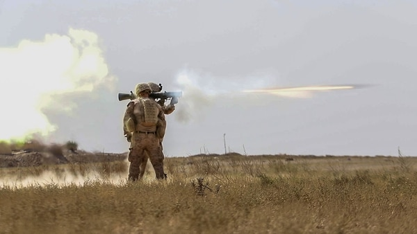 U.S. Marines train with a Carl Gustaf recoilless rifle in Deir ez-Zor province, Syria, Oct. 9, 2018. Coalition Forces continue to assist in Operation Roundup, the Syrian Democratic Forces-led offensive to liberate the last remaining stronghold of ISIS in the Middle Euphrates River Valley. (Sgt. Matthew Crane/Army)