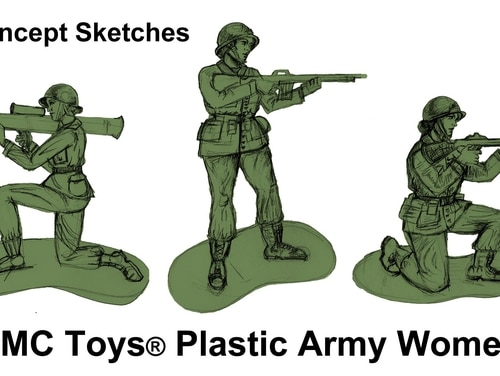 This illustration shows concept sketches for BMC Toys' plastic green Army women. (BMC Toys)