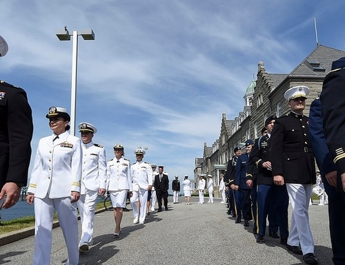 Students of the U.S. Naval War College's 2017 graduating class participate in a commencement ceremony at NWC in Newport, Rhode Island. (MC2 Jess Lewis/Navy)