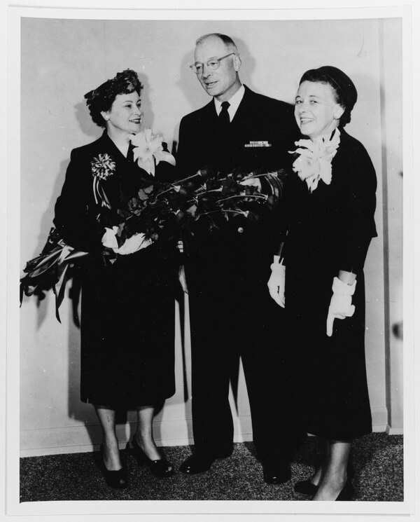 At the launching party for the submarine Grayback on 2 July 1957, Mrs. John A. Moore, sponsor (widow of the last skipper of the first GRAYBACK); Rear Adm. M. J. Lawrence; Mrs. R. L. Mayo, matron of honor, at Mare Island Navy Yard, Vallejo, California. (National Archives)
