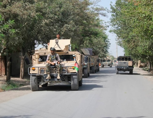 Afghan security forces arrive during a fight against Taliban fighters in Kunduz province north of Kabul, Afghanistan, Saturday, Aug. 31, 2019. (Bashir Khan Safi/AP)