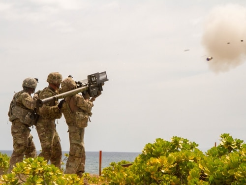 A Stinger missile is launched using a Man-Portable Air Defense System during a live-fire training exercise. The soldiers are with the 35th Air Defense Artillery Brigade. (Capt. Rachael Jeffcoat/Army)
