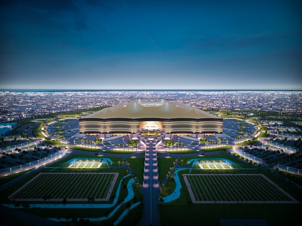 AL KHOR CITY, QATAR - APRIL 21: In this handout image supplied by Qatar 2022, is an artist's impression of the Al Bayt Stadium,Al Khor City, a host venue for the 2022 FIFA World Cup Qatar, which will have a capacity of 60,000 and host matches through to the semi-final round. (Photo by Handout/Supreme Committee for Delivery & Legacy via Getty Images)