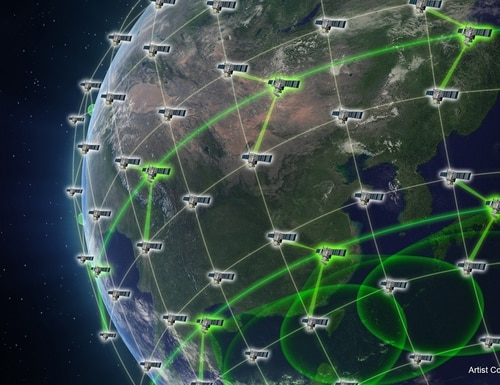 The Space Development Agency's space-based mesh network will connect sensors to shooters regardless of domain. (Defense Advanced Research Projects Agency)