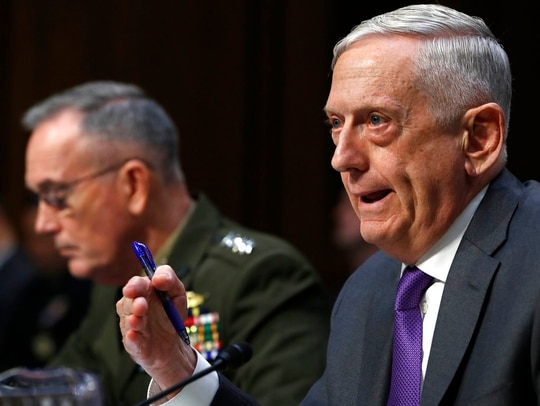 Defense Secretary Jim Mattis, right, testifies about the Department of Defense budget posture with Joint Chiefs Chairman Gen. Joseph Dunford, left, during a Senate Armed Services Committee hearing, Thursday, April 26, 2018, on Capitol Hill in Washington. (Jacquelyn Martin/AP)