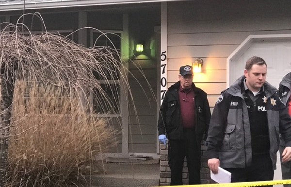 Pierce County Sheriff's Department detectives and forensics personnel respond to an apparent triple homicide and suicide in the Frederickson area of Washington, just east of Joint Base Lewis-McChord. (Via PCSD tweet)