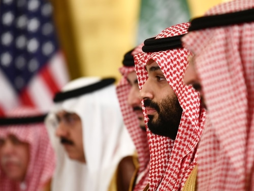 Saudi Crown Prince Mohammed bin Salman attends a working breakfast with the U.S. president during the G-20 Summit on June 29, 2019. (Brendan Smialowski/AFP via Getty Images)