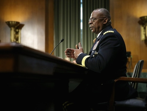 FILE - In this Sept. 16, 2015 file photo, retired Gen. Lloyd Austin III, then the commander of U.S. Central Command, testifies before the Senate Armed Services Committee. (Photo by Chip Somodevilla/Getty Images)