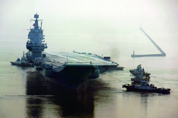 China's first home-built aircraft carrier sets out from a port of Dalian Shipbuilding Industry Co. for sea trials on May 13, 2018. (Getty Images)