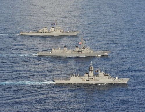 Arleigh Burke-class guided-missile destroyer John S. McCain joined the Royal Australian Navy and Japan Maritime Self Defense Force in the South China Sea for multinational exercises, Oct. 19, 2020. (Navy)