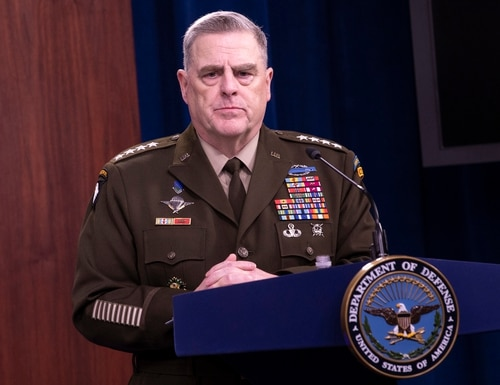 Chairman of the Joint Chiefs of Staff Gen. Mark A. Milley speaks to the media in the Pentagon Briefing Room, May 5, 2020. (Marvin Lynchard/DoD)