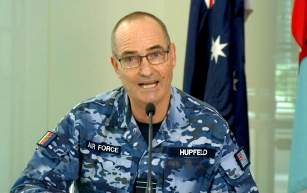Australian Defense Force Chief of Joint Operations, Air Marshal Mel Hupfeld talks to journalists in Canberra on Friday. Australia has assigned a guided missile frigate to the East China Sea to boast international efforts to enforce sanctions against North Korea, an Australian officer said on Friday. Hupfeld said the warship with a crew of 230 will be supported by two Australian AP-3C Orion surveillance aircraft based in Japan.(Australian Department of Defence via AP)