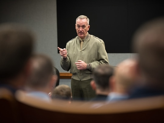 U.S. Marine Corps Gen. Joe Dunford, chairman of the Joint Chiefs of Staff, speaks to Keystone class 18-1 at the Pentagon, March 13, 2018. (Army Sgt. James K. McCann/DoD)