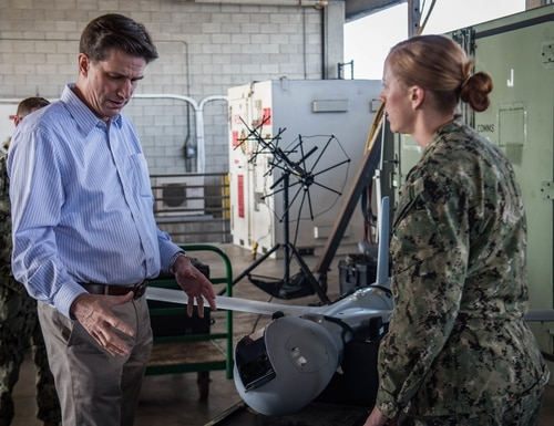 Dana Deasy, Department of Defense chief information officer, meets with various Naval Special Warfare commands to learn about their capabilities onboard Naval Amphibious Base Coronado. (U.S. Navy photo by Mass Communication Specialist 3rd Class Alex Perlman/Released)
