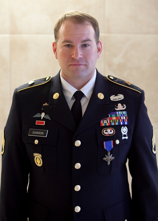 (FORT BENNING, Ga) 3rd Battalion, 75th Ranger Regiment, Distinguished Service Cross Ceremony, February 17, 2015 in Marshall Auditorium. Sgt. Bryan Anderson, 3rd Battalion, 75th Ranger Regiment, and Staff Sgt. Jeffery Dawson, 28th Ordnance Company (Airborne), received the nationÕs second highest honor the Distinguished Service Cross, for their heroic actions Oct. 6, 2013. (Photos by: Patrick A. Albright/MCoE PAO Photographer)