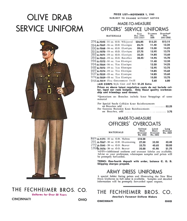 A page in a 1941 catalog lists the prices for the original