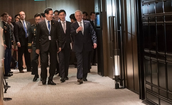 Secretary of Defense James Mattis meets with Republic of Korea Minister of Defense Song Young-moo at the Shangri-La Dialogue in Shangri-La, Singapore, June 2, 2018. The Shangri-La Dialogue, held annually by the independent think tank, the International Institute for Strategic Studies (IISS), is an inter-government security forum which is attended by defense ministers and delegates from more than 50 nations. (Defense Department/Tech Sgt. Vernon Young Jr.)