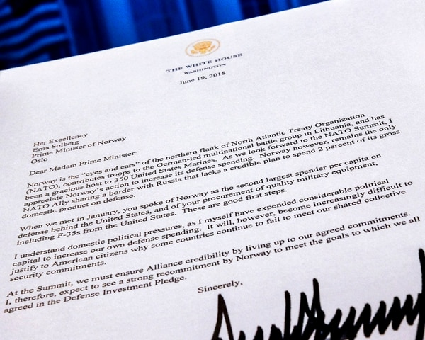 A copy of a letter sent to the Prime Minister Erna Solberg of Norway by U.S. President Donald Trump demanding an increase in Norway's NATO spending is photographed in Washington, Tuesday, July 3, 2018. The letter was supplied to the Associated Press by the Norwegian Defense Ministry. (J. David Ake/AP)