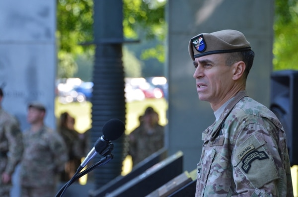 Col. Christopher Vanek, 75th Ranger Regiment commander, delivers his remarks to those in attendance for the 3rd Ranger Battalion change of command ceremony here, April 22. Vanek thanked Col. Patrick Ellis and his wife, Brenda, for their leadership and commitment to the battalion. He also welcomed Lt. Col. Arthur Sellers and his wife, Susan, back to the 75th Ranger Regiment. (U.S. Army photo by Pfc. Parker Johnson, 75th Ranger Regiment documentation specialist)