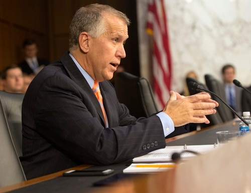 Senate Judiciary Committee member, Sen. Thom Tillis, R-N.C., asks a questions of attorney general nominee Loretta Lynch on Capitol Hill in Washington, Wednesday, Jan. 28, 2015, during the committee's confirmation hearing. If confirmed, Lynch would replace Attorney General Eric Holder, who announced his resignation in September after leading the Justice Department for six years. She is now the U.S. Attorney for the Eastern District of New York. This is the first nomination hearing under the new Republican majority. (AP Photo/Jacquelyn Martin)