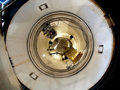 In this June 25, 2014, file photo, an inert Minuteman 3 missile is seen in a training launch tube at Minot Air Force Base, N.D. (Charlie Riedel/AP)
