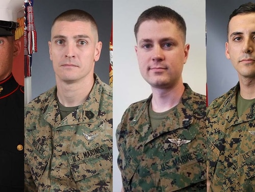 From left to right, Lance Cpl. Taylor J. Conrad, Gunnery Sgt. Derik R Holley, 1st Lt. Samuel D. Phillips and Capt. Samuel A. Schultz were killed as a result of a CH-53E Super Stallion helicopter crash in the vicinity of El Centro, California, April 3.