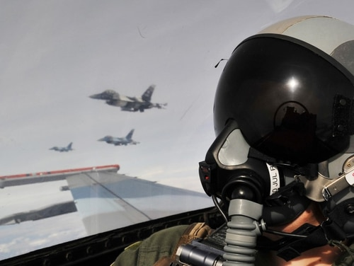 An F-16 pilot plays the enemy as an
