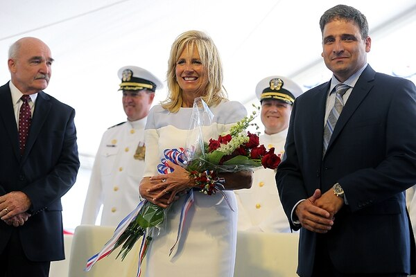 Jill Biden,wife of then Vice President Joe Biden, is shown during a ceremony June 13, 2015, in Mobile, Alabama, when she christened the Navy vessel named in honor of former U.S. Rep. Gabrielle