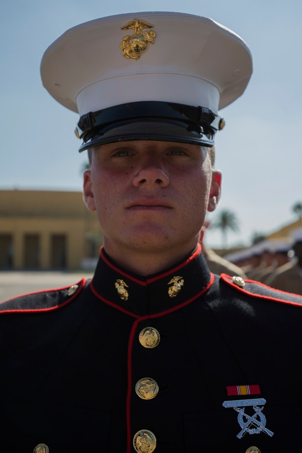 Pfc. Brendan M. Bialy, the 18-year-old guide of Platoon 2147, Golf Company, 2nd Recruit Training Battalion, is from Castle Rock, Colorado. (Lance Cpl. Grace J. Kindred/Marine Corps)