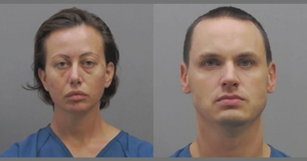 Angelina Hamrick, left, has been charged with aggravated murder in the death of her husband, Tech. Sgt. Jason Hamrick. Another airman, Tech. Sgt. Michael Clark, right, has been charged with conspiracy to commit aggravated murder. (Clermont County Sheriff's Office).