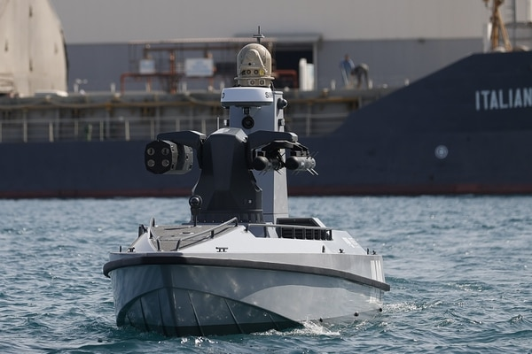 An ULAQ unmanned vessel performed tests alongside the Denizkurdu events but was not officially part of the exercise. (Courtesy of Anadolu Agency)