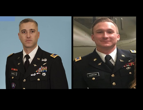 Chief Warrant Officer 3 Ryan Connolly, left, and Warrant Officer James Casadona died April 6 when their AH-64 Apache helicopter crashed during training at Fort Campbell, Ky. (Army)