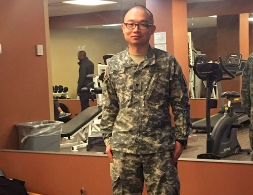This photo provided by Panshu Zhao shows Zhao in uniform on Feb. 11, 2018, at a U.S. Army Reserve installation in Houston. (Panshu Zhao via AP)